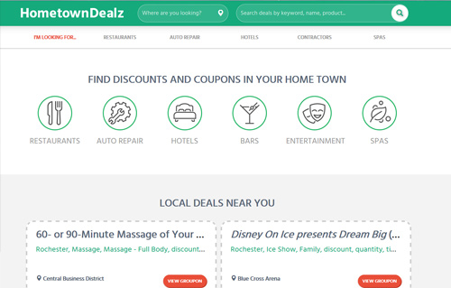 hometowndealz website screenshot